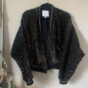 Ettitwa Sequined Fleece Bomber Style Jacket